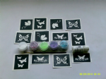 Butterfly glitter tattoo set for girls  including 5 pots of colour +  glue   children   present   Fund Raising
